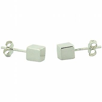 TOC Sterling Silver Cube Stud Earrings 5mm