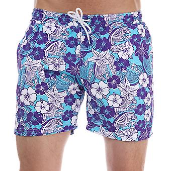 Mens Henleys Flowers Patterned Swim Short In Purple
