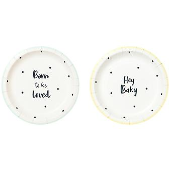 'Born to Be Loved' Paper Plates Small x 12 - Baby Shower - Christening