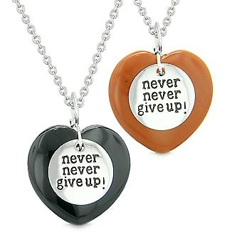 Amulets Never Give Up Love Couples or Best Friends Magic Puffy Hearts Black Agate Red Jasper Necklaces