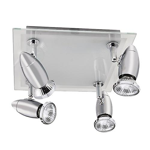 Searchlight 8764CC Saturn 4 Light Chrome Spotlight With Glass Back Plate