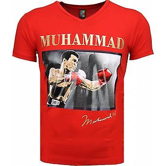 T-shirt-Muhammad Ali Glossy Print-Red