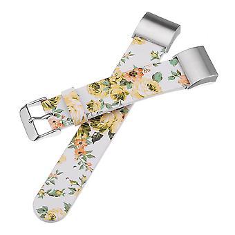 16mm blomma PU läder Replacement klockarmband rem för Fitbit Charge 2