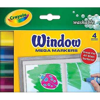 Crayola Washable Window Mega Markers 4 Pkg 58 8166