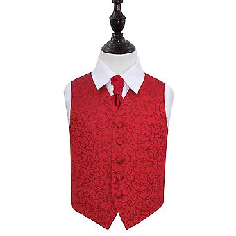 Boy's Burgundy Swirl Patterned Wedding Waistcoat & Cravat Set