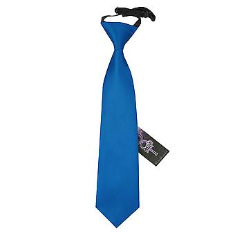 Boy's Plain Electric Blue Satin Pre-Tied Tie (2-7 years)