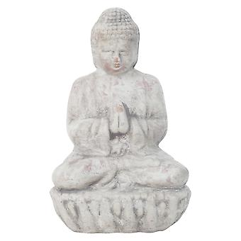 Small 17cm Grey Terracotta Sitting Buddha Statue Garden or Home Ornament