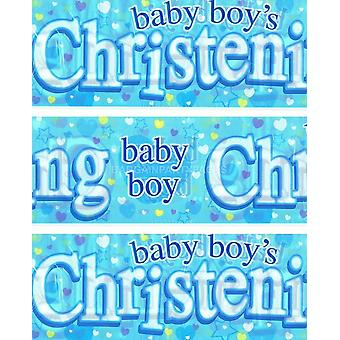 HAPPY CHRISTENING BANNER BLUE BOY Party Decorations