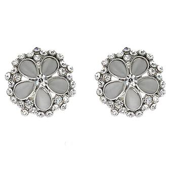 Clip On Earrings Store Clear Crystal  and  Frosted Grey Cinquefoil Flower Clip On Earrings
