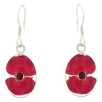 Shrieking Violet Sterling Silver Real Red Poppy Flower Oval Drop Earrings