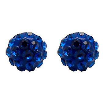 Butler and Wilson Small Round Sapphire Blue Pave Stud Earrings