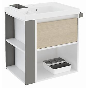 Bath+ 1 Drawer Cabinet + Shelf With Resin Basin Oak-White-Grey 60CM