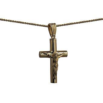 9ct Gold 32x18x4mm handmade Memorial Crucifix Cross with a spiga Chain 24 inches