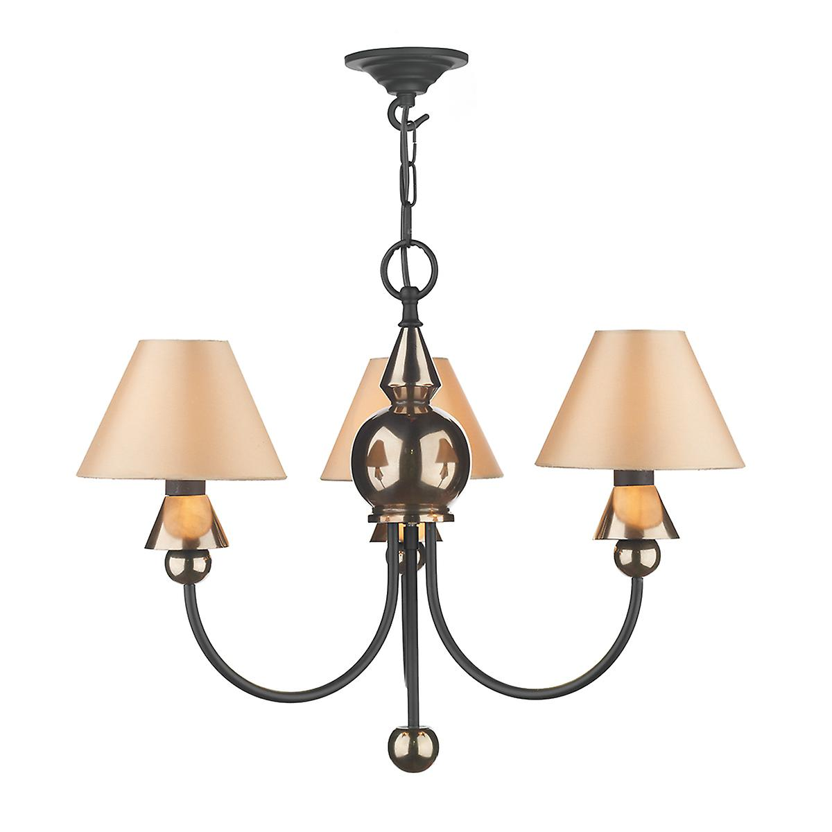 David Hunt PP37 Spearhead Traditional 3 Light Pendant In Bronze And Black