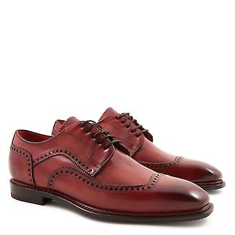 Handmade men's derby plain cap wingtip toe shoes