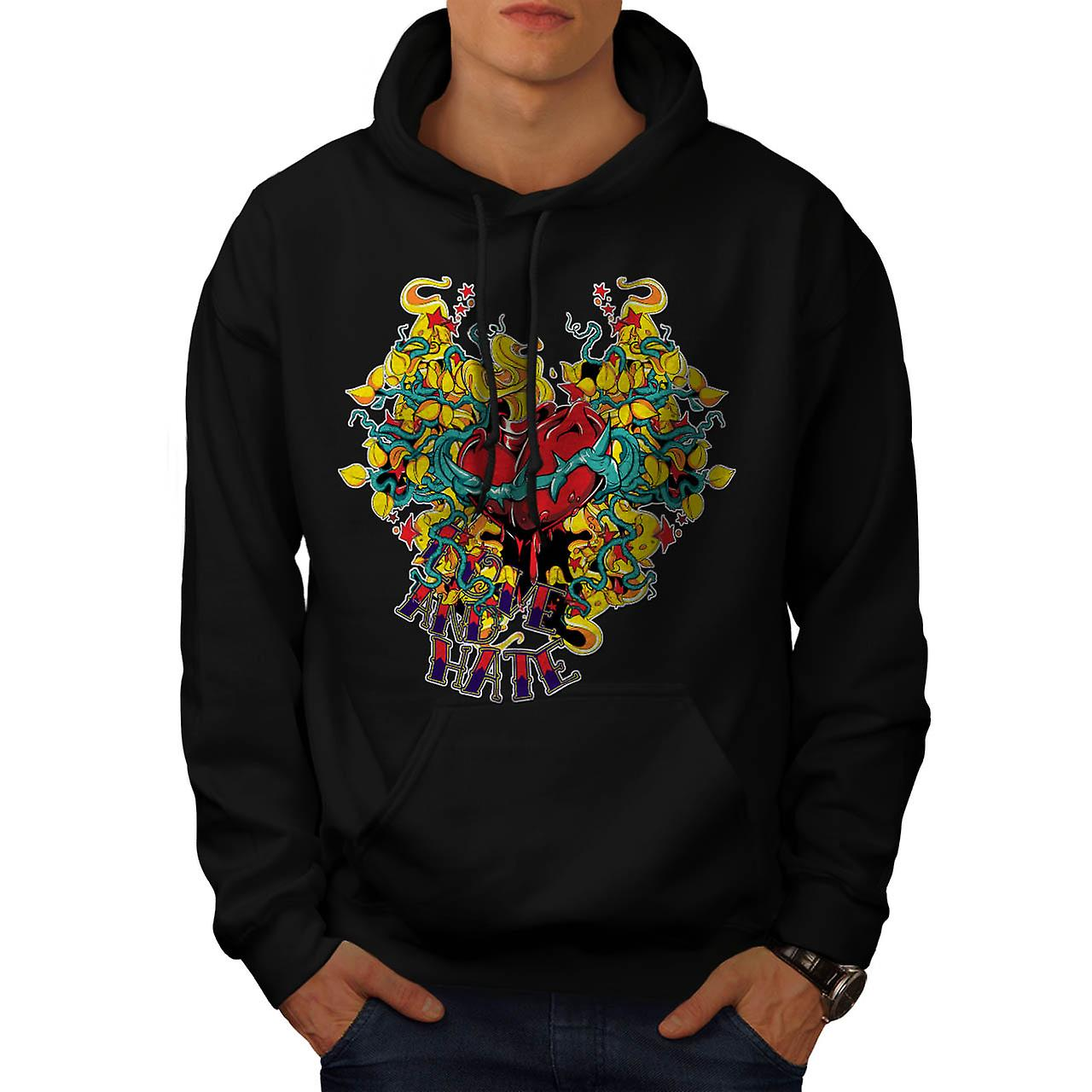 Love And Hate Heart Beat Life Men Black Hoodie | Wellcoda