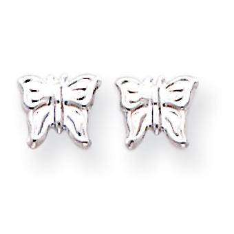 14k Weißgold poliert Post Ohrringe Schmetterling Ohrringe -.3 g - Maßnahmen 6x7mm