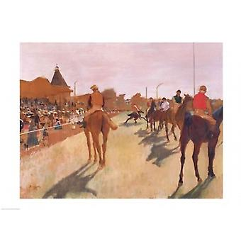 The Parade or Race Horses in front of the Stands Poster Print by Edgar Degas