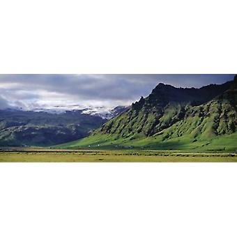 View Of Farm And Cliff In The South Coast Sheer Basalt Cliffs South Coast Iceland Poster Print