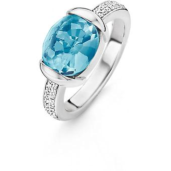 12057WB - set Blau Kristall Ring Mobilteil Ring Frau