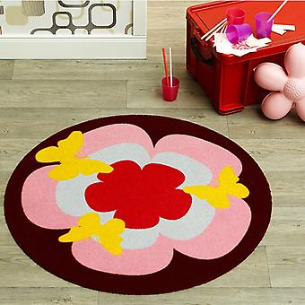 Velour kids carpet Butterfly pink multi colored round 100 cm | 102300