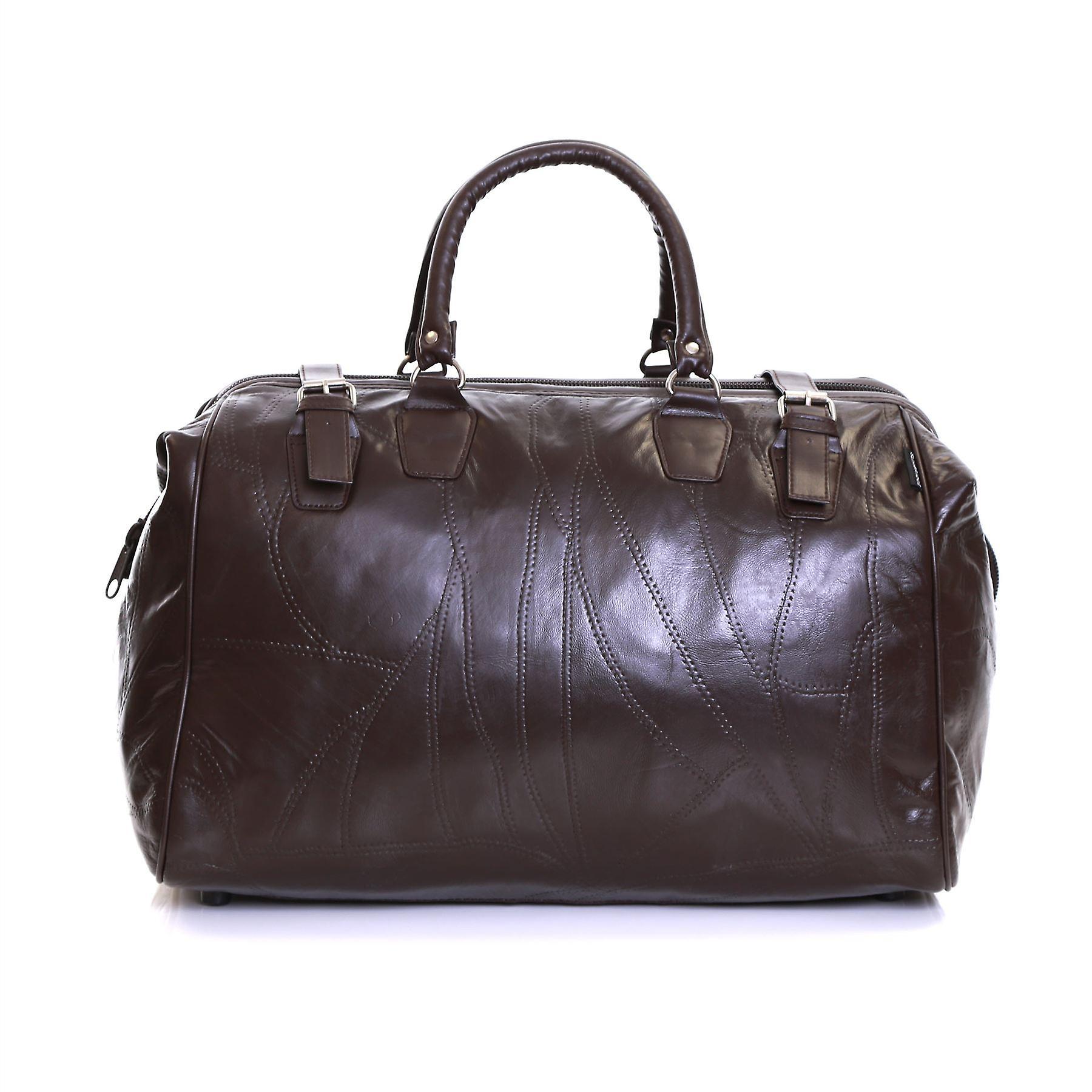 Slimbridge Malaga Leather Travel Bag, Brown