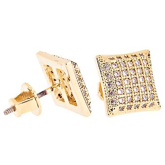 Iced out bling micro pave earrings - PAD 10 mm gold