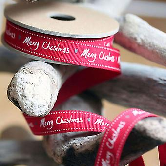 East of India Ribbon Grosgrain Red Merry Christmas with Hearts 3m