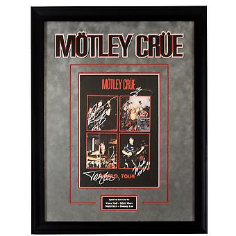 Motley Crue Signed Band World Tour Picture Poster in Framed Case with COA