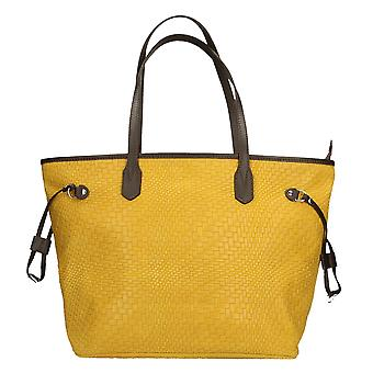 CTM women's shoulder bag with large Print genuine leather Braided Handles Made in Italy ï ¿46x30x17 .5 Cm