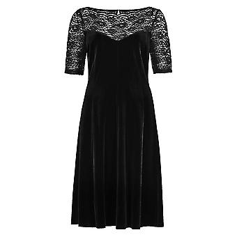 Lace Yoke Velour Skater Dress in Shorter & Longer Lengths