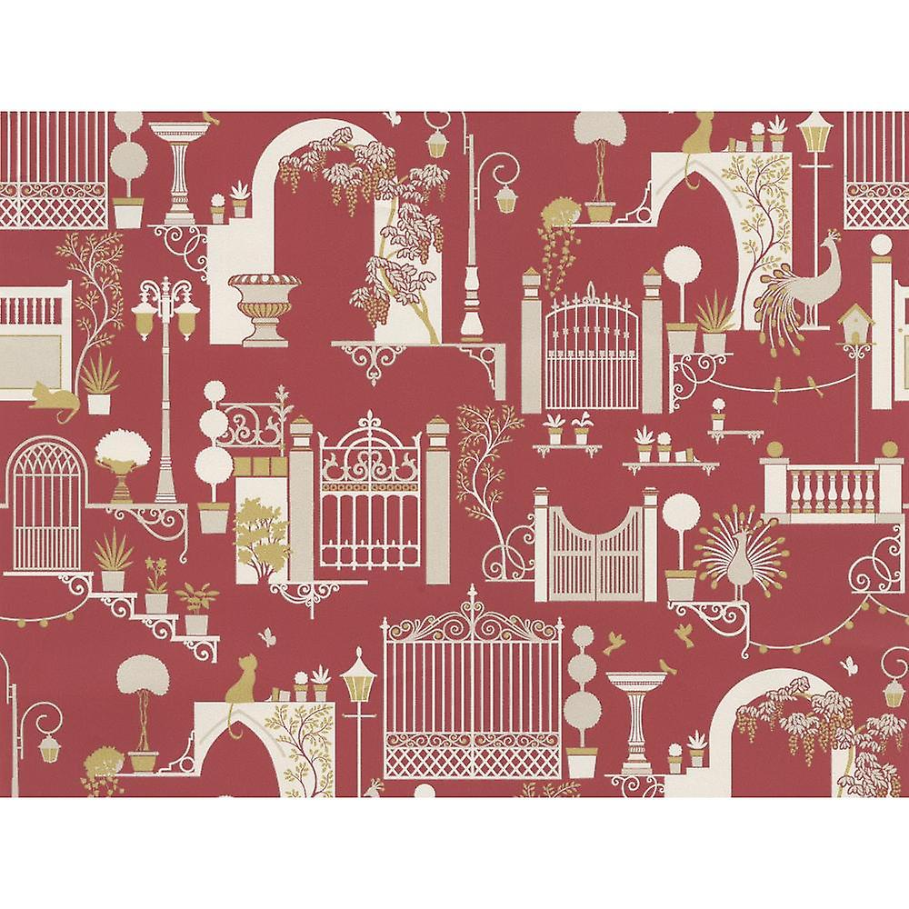 Garden Pattern Wallpaper Trees Birds Cats Lights Metallic Madeline Red White