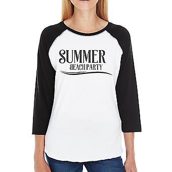 Roeping van de zomer is het surfen tijd Womens 3/4 mouwen ronde hals Raglan