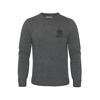 Franklin & Marshall Franklin & Marshall Mens Grey Knitted Round Neck Sweatshirt
