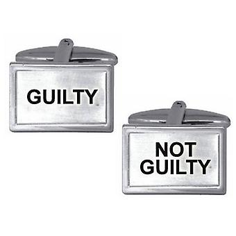 Zennor Guilty Not Guilty Cufflinks - Silver/Black
