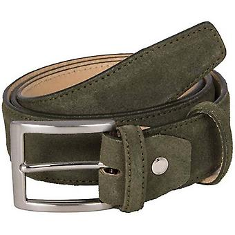 40 Colori Trento Suede Leather Belt - Olive Green
