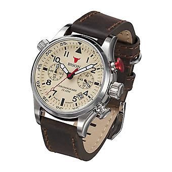 Bison men's watch wristwatch quartz bison No.. 7 BI0007CR leather