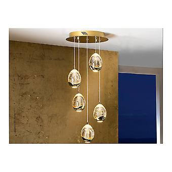 Schuller Spanish Gold 5 LED Ceiling Pendant Lamp With Champagne Orbs