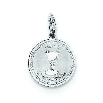 Sterling Silver Solid Faceted Engravable Laser Etched Holy Communion Disc Charm - .7 Grams