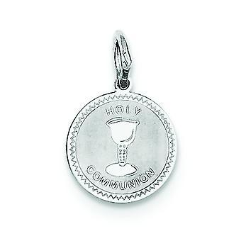 Sterling Silber solide facettierten Schlossdrücker Laser geätzt Heilige Kommunion Disc Charme -.7 Gramm
