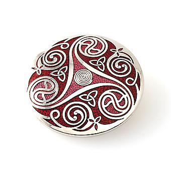 Fine Glass Enamelled Rhodium Plated Celtic Triskele Red Brooch
