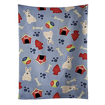 Dog House Collection Bull Terrier White Kitchen Towel