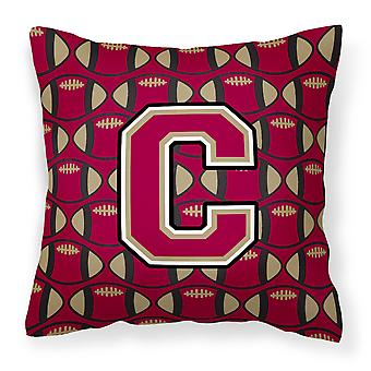 Letter C Football Garnet and Gold Fabric Decorative Pillow