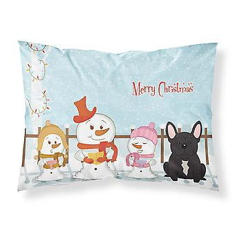 Merry Christmas Carolers French Bulldog Brindle Fabric Standard Pillowcase
