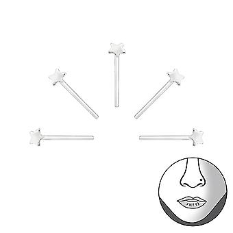 Star - 925 Sterling Silver Nose Studs - W31480x