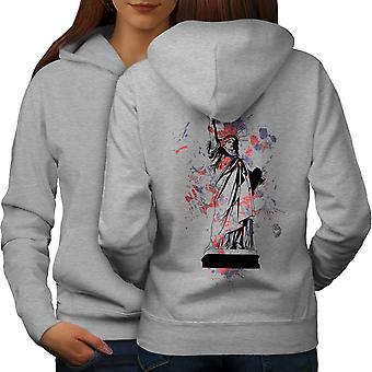 Statue Freedom New York Women GreyHoodie Back | Wellcoda