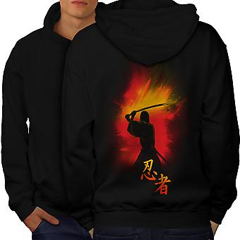 Katana Fighter Fantasy Men BlackHoodie Back | Wellcoda