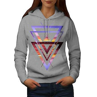 Sunset View driehoek vrouwen GreyHoodie | Wellcoda