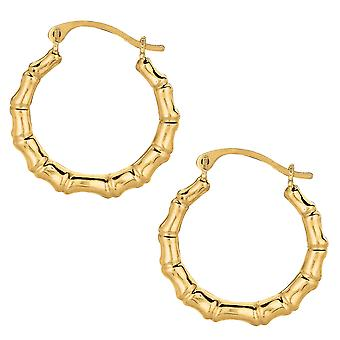 10k geel goud glimmend bamboe ronde Hoop Earrings, Diameter 18mm