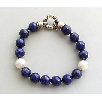 Bracelet with pearls and lapis lazuli